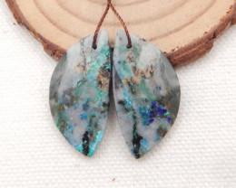 27cts Chrysocolla earrings ,teardrop earrings ,Designer Making H1683
