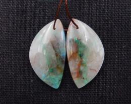 30.5cts Chrysocolla earrings ,teardrop earrings ,Designer Making H1682