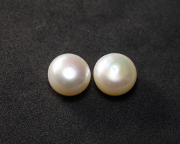 **$1NR**  8.79ct 9.3mm Half-Drilled Freshwater Pearl Earring Set