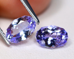 Tanzanite 1.45Ct 2Pcs VVS Master Cut Natural Purplish Blue Tanzanite C1911