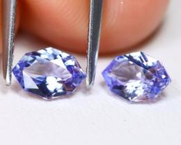 Tanzanite 1.09Ct 2Pcs VVS Master Cut Natural Purplish Blue Tanzanite C1914