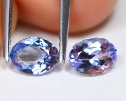 Tanzanite 1.32Ct 2Pcs VVS Master Cut Natural Purplish Blue Tanzanite C1915