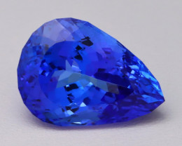 12.24Ct DBlock Natural Vivid Blue Tanzanite IF Flawless Master Cut BQ02