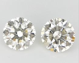 2/ 0.30 CTS , Round Brilliant Cut , Light Colored Diamond