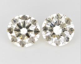 2/ 0.29 CTS , Round Brilliant Cut , Light Colored Diamond