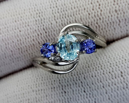 15CT TANZANITE AND BLUE ZIRCON  925 SILVER RING 7.5 BEST QUALITY GEMSTONE I