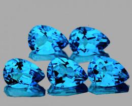 7x5 mm Pear 5 pcs 4.30cts Swiss Blue Topaz [VVS]