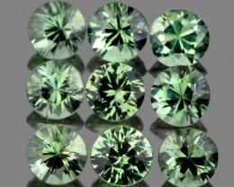 2.80 mm Round 9 pcs 0.96ct Green Sapphire [VVS]