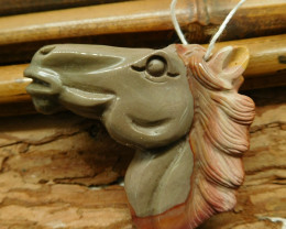 Succor jasper carved horse pendant (G2641)