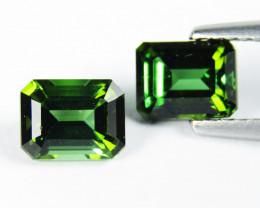 2.05Cts Natural Amazing Green Tourmaline  Emerald Cut Pair  VIDEO