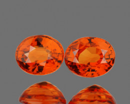 5x4 mm Oval 2 pcs 0.98ct Orange Sapphire [VVS]