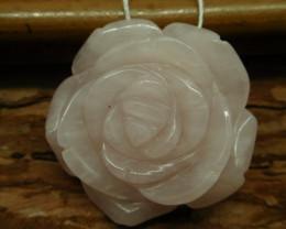 Rose quartz carved flower pendant (G2651)