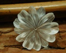 Clear quartz carved flower pendant (G2615)