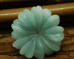 Carved amazonite flower pendant (G2616)