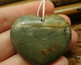 Heart shape creek jasper pendant (G2622)