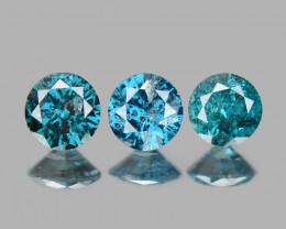 Diamond 0.24 Cts 3 pcs Sparkling Rare Fancy Blue Color Natural