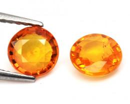 Orange Sapphire 1.52 Cts 2 Pcs Amazing Rare Natural Fancy Loose Gemstone