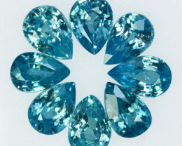 5.00 Cts Natural Sparkling Blue Zircon 6x4mm Pear Cut 8Pcs Cambodia