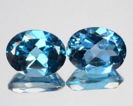 Matching pair!2.04 Cts Natural London Blue Topaz 7x5mm Oval Cut l