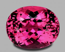 High grade, precision custom oval cut vivid pink Brazilian tourmaline.