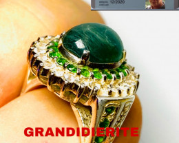 57CT -  GRANDIDIERITE ( rare) RING -WITH WHITE SAPPHIRE AND TSAVORITE! Hand