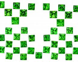 2.01 Cts Natural Top Green Tsavorite Garnet 2mm Square Parcel Kenya