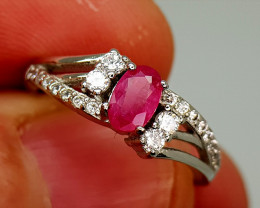 13Crt Ruby 925 Silver Ring Natural Gemstones JI136
