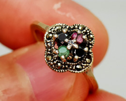 19Crt Multi Gems 925 Silver Ring 7 Natural Gemstones JI136