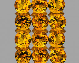 4.00 mm Round 12 pcs 2.72cts Golden Yellow Citrine [VVS]