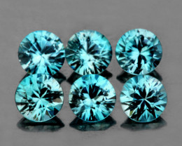 4.00 mm Round 6 pcs 2.34cts Blue Zircon [VVS]