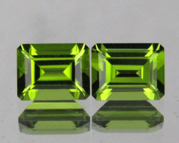 5.10 cts Wonderful Emerald cut Natural Peridot Pair Loose Gemstone