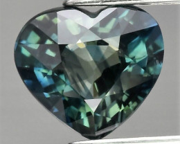 CERTIFICATE 1.12 ct VVS Heart Natural Unheated Green Blue Sapphire