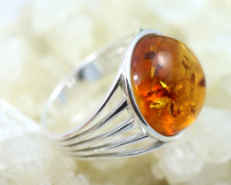 Natural Baltic Amber Sterling Silver Ring size 6 code GI 469