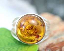Natural Baltic Amber Sterling Silver Ring size 9 code GI 484