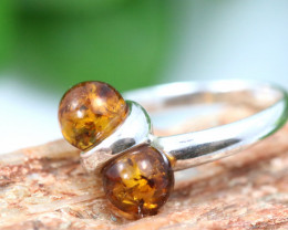 Natural Baltic Amber Sterling Silver Ring size 6 code GI 492