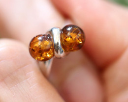 Natural Baltic Amber Sterling Silver Ring size 7 code GI 498