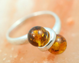 Natural Baltic Amber Sterling Silver Ring size 7 code GI 499
