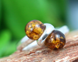 Natural Baltic Amber Sterling Silver Ring size 8 code GI 504