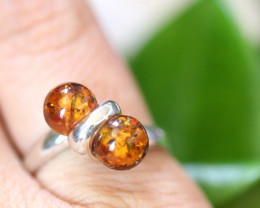 Natural Baltic Amber Sterling Silver Ring size 9 code GI 507
