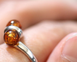 Natural Baltic Amber Sterling Silver Ring size 10 code GI 512
