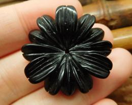 Obsidian carved flower pendant (G2628)