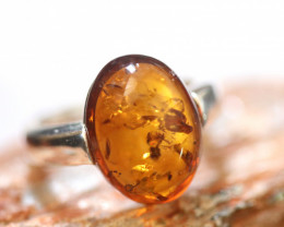 Natural Baltic Amber Sterling Silver Ring size 9 code GI 580