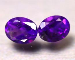 Amethyst 3.68Ct 2Pcs Natural VVS Uruguay Electric Purple Amethyst E2409/A2