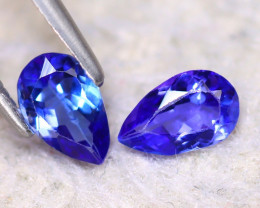Tanzanite 0.90Ct 2Pcs Natural VVS Purplish Blue Tanzanite E2410/D3