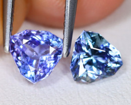 Tanzanite 1.42Ct 2Pcs VVS Master Cut Natural Purplish Blue Tanzanite C2102