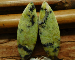 Green serpentine gemstone earring pair (G2625)