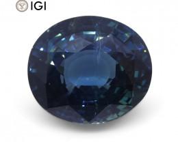 6.84ct Oval Teal Blue Unheated Sapphire IGI Certified Ethiopian