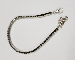 Black Spinel 925 Sterling silver bracelet #33062