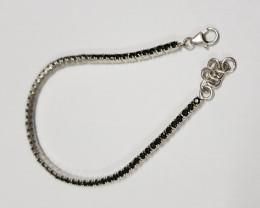 Black Spinel 925 Sterling silver bracelet #33062