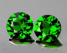 4.00 mm Round 2 pcs 0.63ct Chrome Green Diopside [VVS]
